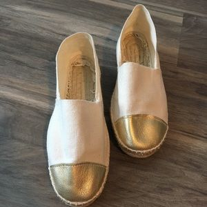 Espadrilles Flats White Gold Made in Spain Sz 36